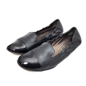 AGL Black Leather & Patent Leather Smoking Flats